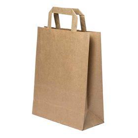 Χάρτινη Σακούλα Καφέ με Πλακέ Χερούλι 1+1 ΔΩΡΟ