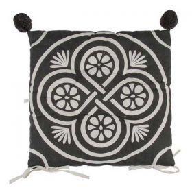Μαξιλάρι Διακοσμητικό Καρέκλας Λευκό/Μαύρο 40x40εκ.