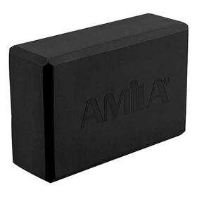 Τουβλάκι Γιόγκα Amila 7,6x15x23εκ. Μαύρο