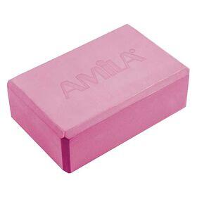 Τουβλάκι Γιόγκα Amila 7,6x15x23εκ. Ροζ