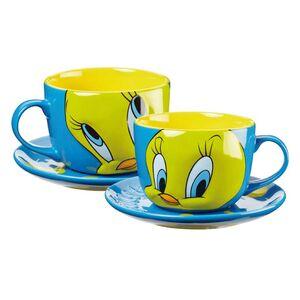 Κούπα Μεγάλη με Πιάτο Ανάγλυφο Tweety Σιέλ Hollytoon